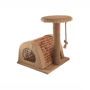 Домик-когтеточка Yami-Yami Чердачок из лозы для кошек 43х54.5х50см