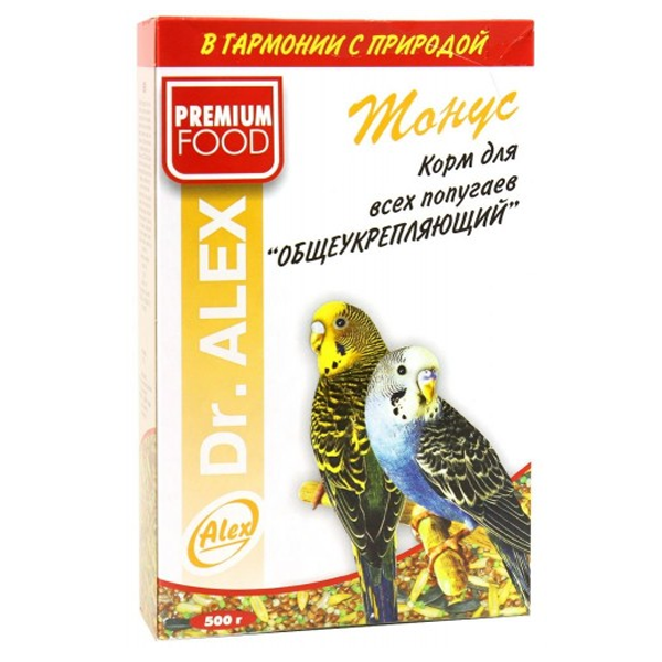 Корм Dr.ALEX Тонус для волнистых попугаев 500гр